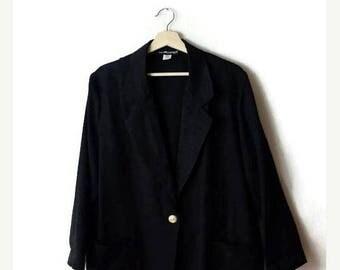 ON SALE Vintage Oversized Black Slouchy Light Blazer from 1980's/Minimal Jacket/Minimalist*