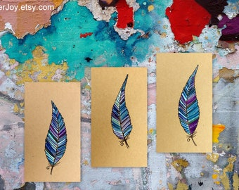 feather gift, feather gifts, drawings, art, drawing of, a feather, with a feather, with feathers, feather drawings, original, 6 HAND DRAWN