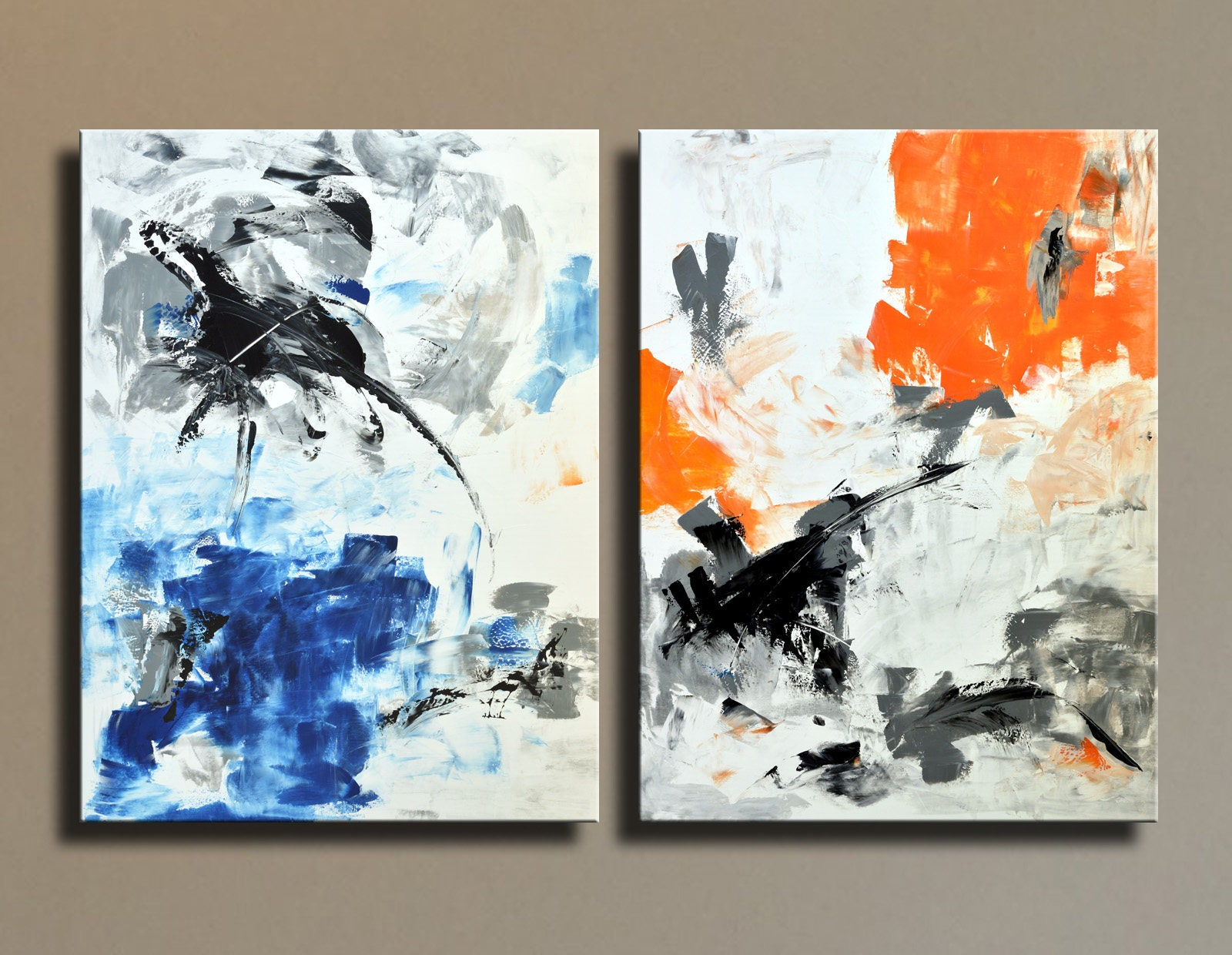 Extra large abstract painting black white gray blue orange for Orange wall art