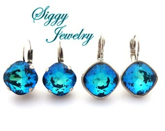 Swarovski Crystal Earrings, Ocean Bermuda Blue, Peacock, 12mm Cushion Cut, Studs or Drops Pick Your Style and Finish, Free Shipping