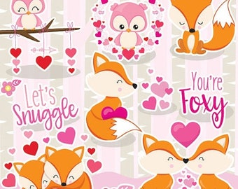 80% OFF SALE Valentine fox clipart commercial use, love foxes vector graphics, fox digital clip art, digital images  - CL1053