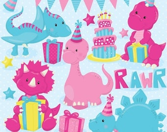 80% OFF SALE Birthday dinosaur party clipart commercial use,  vector graphics, bee digital clip art, digital images - CL798