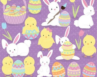 80% OFF SALE easter bunny clipart commercial use, vector graphics, digital clip art, digital images  - CL506