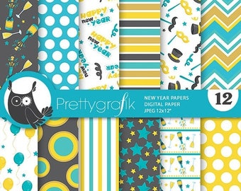 80% OFF SALE New year papers, New year commercial use, celebration scrapbook papers, party papers, background - PS842