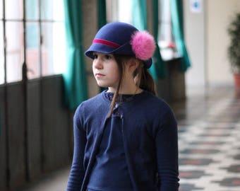 Toddler Winter Hat Pompom Cloche style High Quality Custom made Girls Hat, Little Girls Felt pom pom hat, Cute girls pompom hat