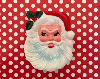 Vintage Santa Clause Nut Mint Dish Santa Trinket Holder Ashtray Christmas Candy Santa Wall Plaque Merry Kitschmas