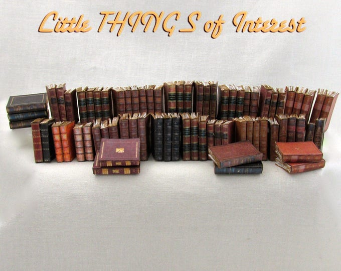 72 LIBRARY BOOKS Prop Books Miniature Dollhouse Books 1:12 Scale Fill Bookshelf Faux Books