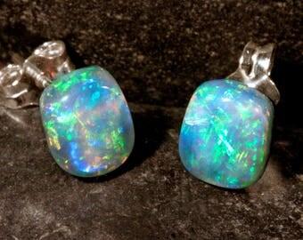 Sterling Silver Rectangle Australian Opal Stud Earrings, #101-00267
