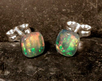 Sterling Silver Ethiopian Opal Small Square Stud Earrings, #101-00271