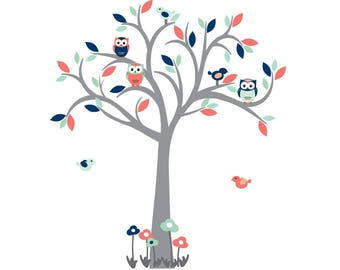 Owl Tree Wall Decal, Nursery Wall Decal, Coral, Navy, Wall Sticker, Part 61