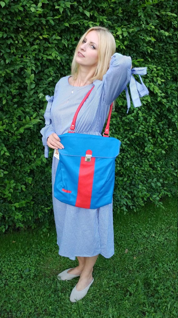 Red and Royal Blue full grain leather Bag, Leather tote bag, Shoulder bag, Laptop Bag, Files Bag, Twisted Minds Collection