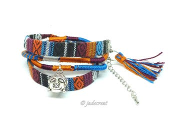 Native American fabric strap and Buddha - ref Br 0 269.