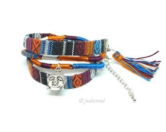 Bracelet  tissu amérindien et  Bouddha - Réf. Br 0 269