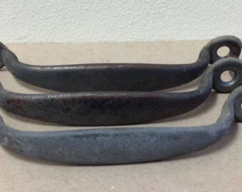 """1920s early drawer pulls metal steel pressed folded 4 3/4"""" thin from Printers cabinet letterpress typeset antique vintage"""