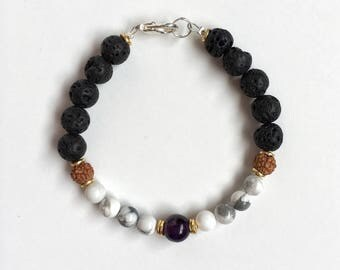 Black Lava Essential Oil Diffuser Bracelet/ Aromatherapy Bracelet/Lava Bracelet/Deep Purple Amethyst Bracelet/Howlite/Mala Bead