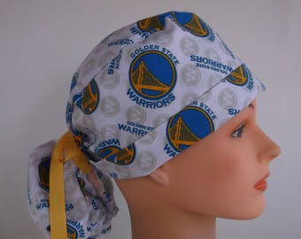 Golden State Warriors ponytail scrub hat - Womens lined surgical scrub cap, Nurse surgical cap, 101-100w
