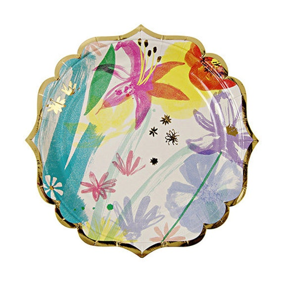Small Painted Flowers Paper Plates Floral Bridal Shower Mothers