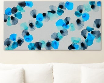 Alcohol Ink Art Abstract Painting on Canvas - SAPPHIRE