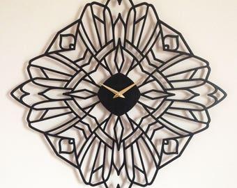 "22"" x 22"" Deco Rose Wall Clock. Modern, art deco"