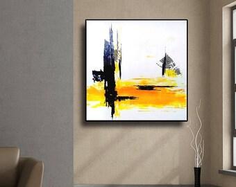 "32"" Original Abstract Acrylic Painting Wall Art Large Modern Art Home Decor Yellow Gray Black Original Square Abstract AU32"