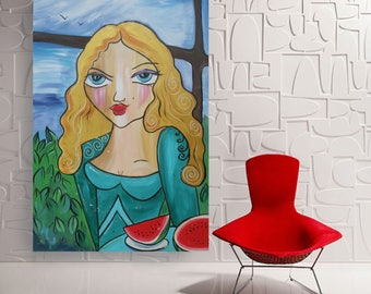 Girl with a watermelon Portrait Large acrylic painting 110x160 cm unstretched canvas F144 art original artwork by artist Ksavera