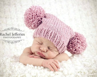 Knitted baby hat girl 9 to 24 months pom pom - pink rose quartz baby girl - photo prop shoot hand knit - baby shower - winter spring