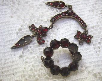Antique/Vintage Lot Bohemian GARNET Jewelry For Repair....Sterling Garnet Bracelet...Re-Vintage...Re-Purpose...Assemblage Art