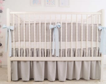 Gray crib  bedding - linen crib bedding - gathered skirt and 4 side bumper - boy crib bedding