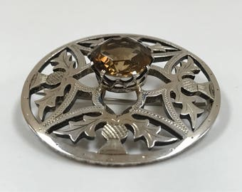 Scottish Vintage Sterling Silver Round  Brooch/Pin With Centered  Brown Citrine Stone !!!