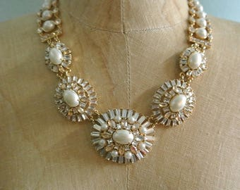 Crystal and Pearl Statement Necklace, Gold and Rhinestone Collar, Stunning for a Bride or Wedding, Beautiful Necklace By UPcycled Works