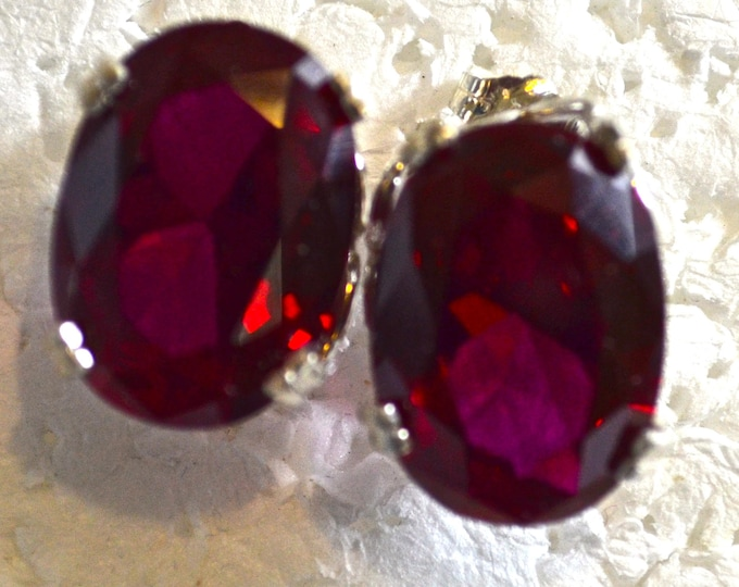Large Red Zircon Studs, 18x13mm, Natural, Set in Sterling Silver E1105