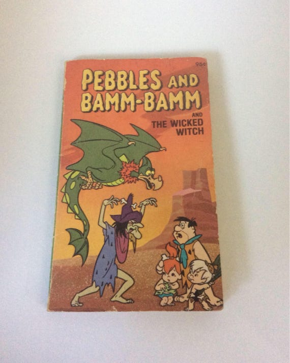 Pebbles and Bamm Bamm and the Wicked Witch book, fabulous cartoon book from 1978, Hannah Barbera productions, The Flintstones book