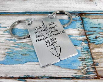 Aluminium rectangle key ring set. Side by side or miles apart Soul mates/ Sisters/Cousins/Friends remain connected by the heart.