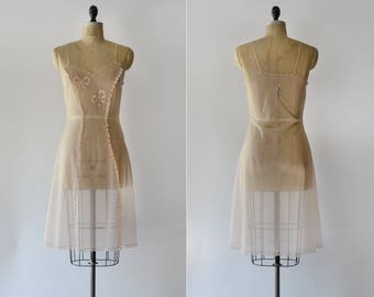 Light Night Slip / 1950s embroidered sheer slip / vintage pink negligee
