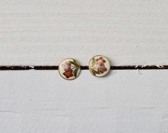 1970s White floral Cloisonne earrings