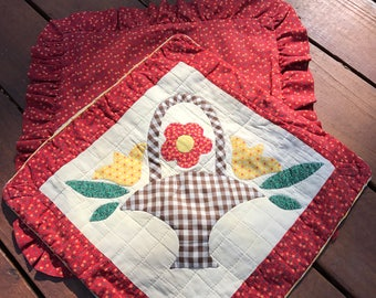 Two Vintage Hand Quilted and Appliqued Pillow Covers Red Floral Design Appliqued Basket with Flowers Envelope Closures