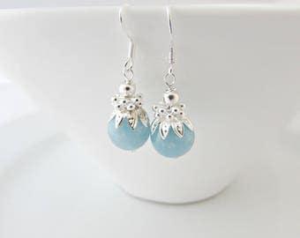 Aquamarine Earrings, Sterling Silver Earrings, Aquamarine Jewellery, Blue Wedding, March Birthstone, March Birthday, Bridesmaid Gift, UK