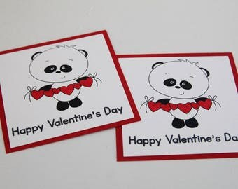 Panda Valentines Cards for Classroom Party, Hearts and Panda Bear School Valentine Mini Card Set, Happy Valentine's Cards for Kids