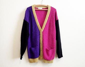 Purple Pink Cardigan Medium Large - Loose Long Cardigan