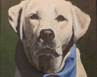 """Custom Painting of YOUR pet 8""""x8"""" Linen Canvas"""
