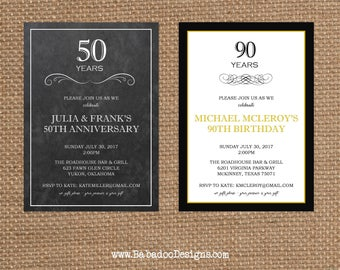 NUMBER + AGE + YEAR // Birthday + Anniversary Invitation // Full Service Printing + Coordinating Items