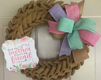 Burlap Petal Wreath, Burlap Wreath, Mother Wreath, Everyday Wreath, Friend Wreath, Mother's Day