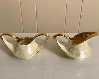 Pearl Co Pearlized Cream and 22K Gold Sugar and Creamer - Iridescent Cream and Gold Sugar and Creamer