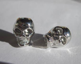 2 large skull metal big hole beads (2423)