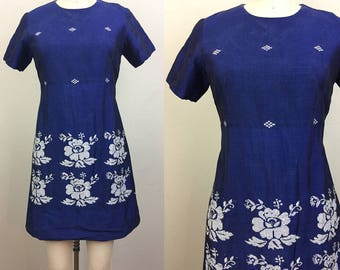 Vintage 60s MOD Mini Dress Navy Blue and Metallic Floral Linen Ethnic Indian Dress S