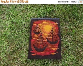 Summer sale Wall art. Vintage Swedish Wall Embroidery. Wall Hanging. Scandinavian Decor 1970s.