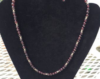 "Garnet and Silver Bead Necklace 18"" round garnets January Birth Stone"
