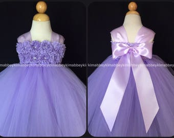 Sale Flower girl /princess tutu dress in lavender with shabby flowes