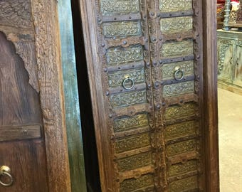 Antique Doors Floral Brass Hand Carved Teak Door with Iron Straps & Haciendastyle Decor