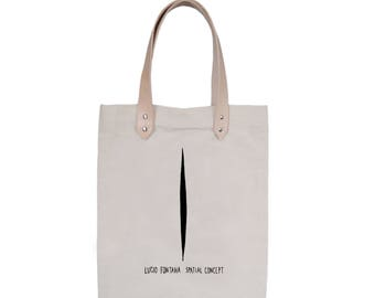 Tote Bag With leather straps - Screenprint Over Cotton Canvas Tote Bag Lucio Fontana